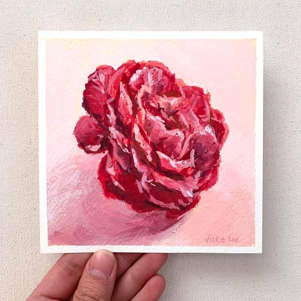mini camellia flower painting