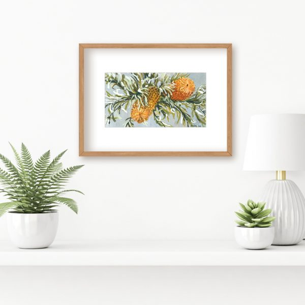 Orange banksia with curly leaves painting insitu