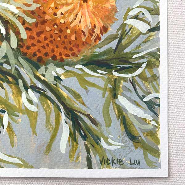 Orange banksia with curly leaves painting detail