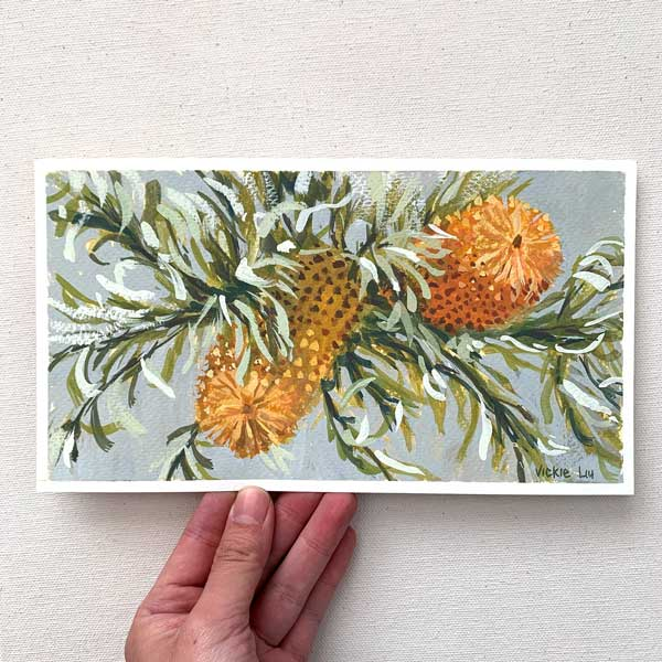 Orange banksia with curly leaves painting