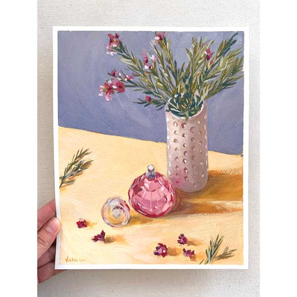 pink wax flowers and perfume bottle still life painting
