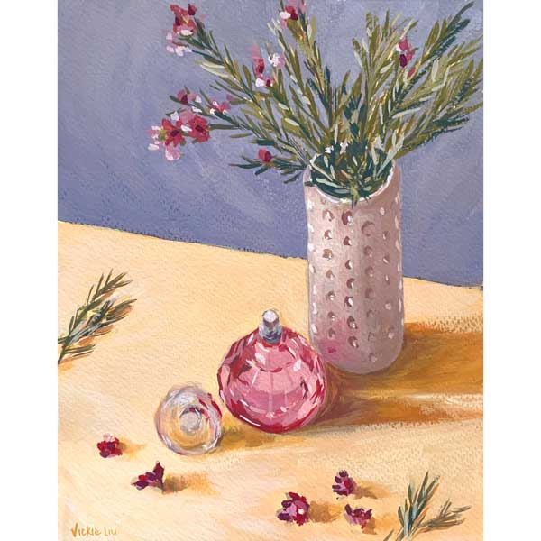 pink wax flowers and perfume bottle still life