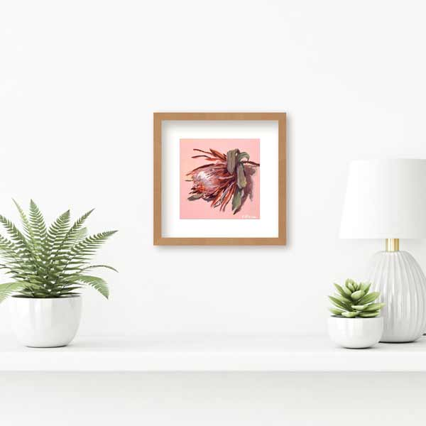 Protea on pink painting insitu