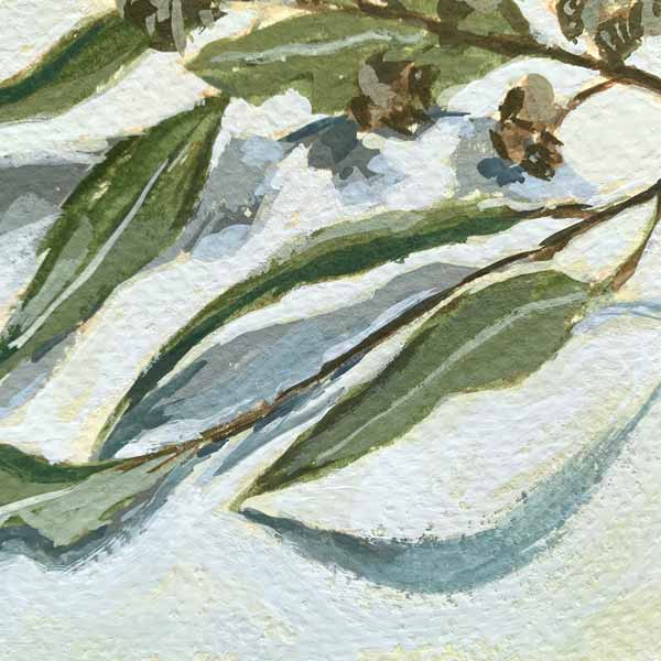 Rainy Day Gum Leaves Painting Detail