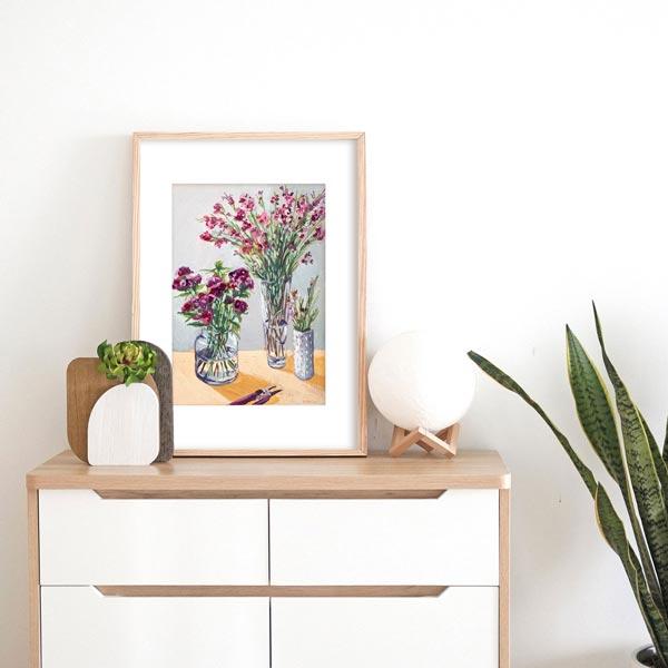 Three Vases of Spring Flowers Painting Insitu