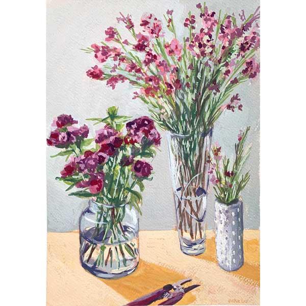Three Vases of Spring Flowers Painting