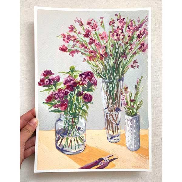 Three Vases of Spring Flowers Still Life Painting