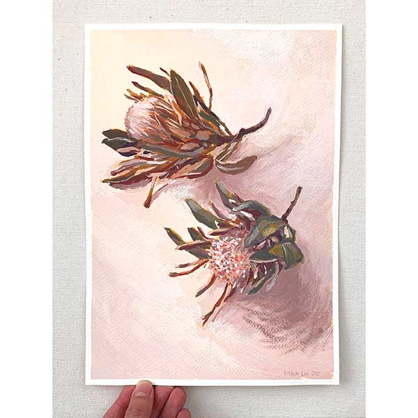 Two dried proteas painting