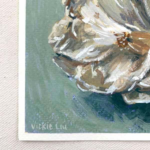 White camellia flower painting signature