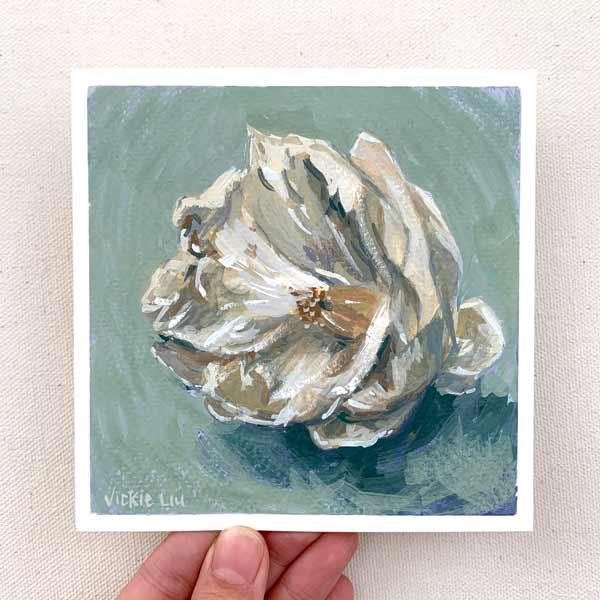 White camellia flower painting