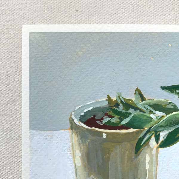 Wonky Succulent Still Life Painting Detail
