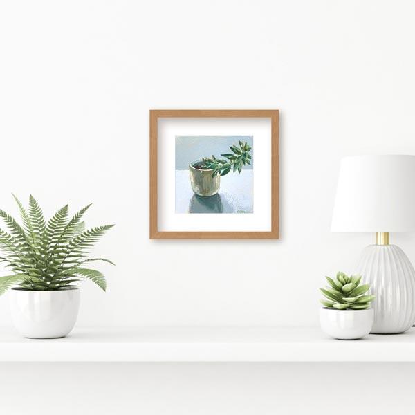 Wonky Succulent Still Life Painting Insitu