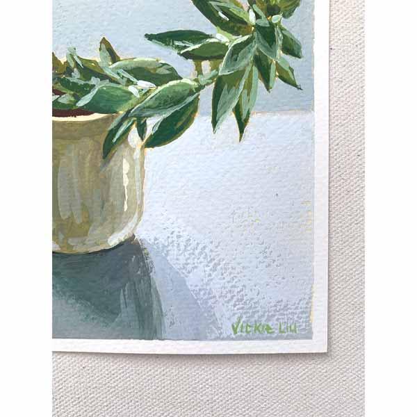 Wonky Succulent Still Life Painting Signature