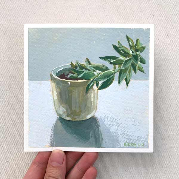 Wonky Succulent Still Life Painting