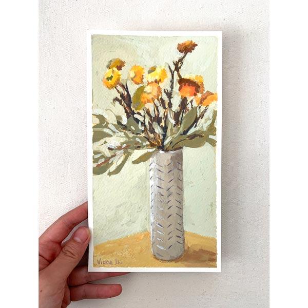 paper daisies still life