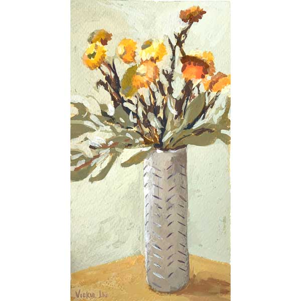 Yellow Paper Daisies in Tall Vase Study