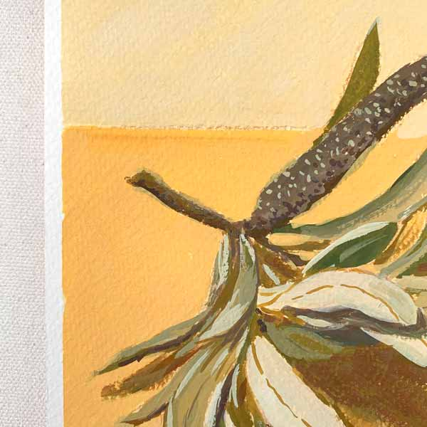 Banksia and Leaves on Orange Painting Detail