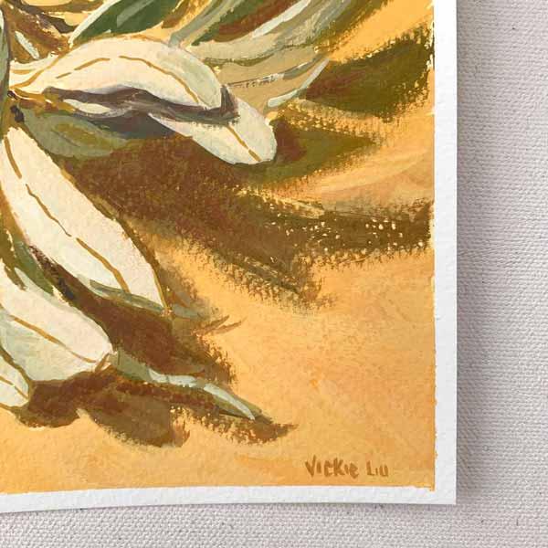 Banksia and Leaves on Orange Painting Signature