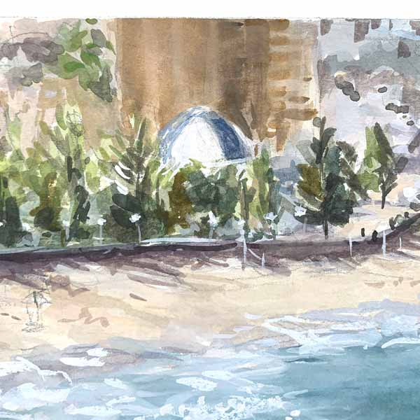 Coogee beach winter afternoon plein air painting detail