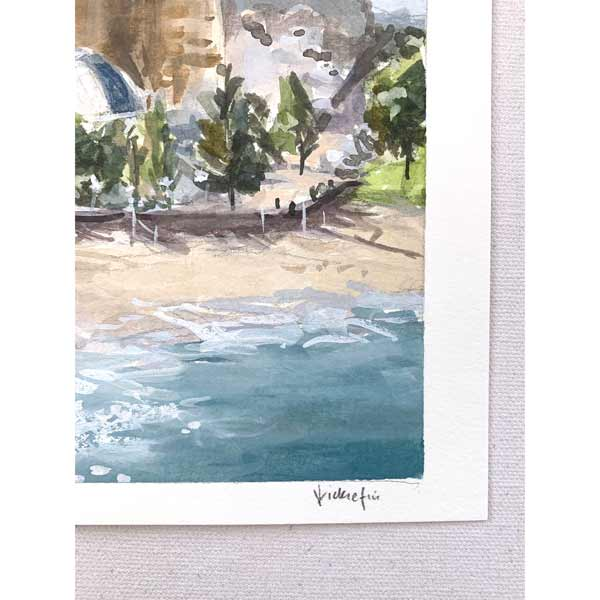 Coogee beach winter afternoon plein air painting signature