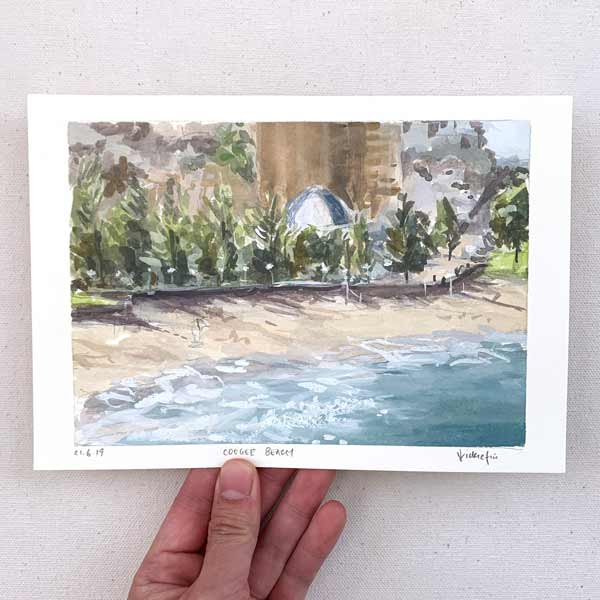 Coogee beach winter afternoon plein air painting