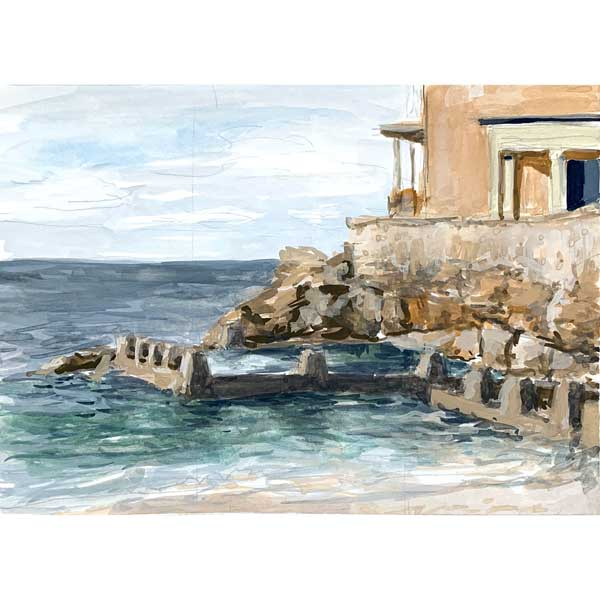 Coogee surf club and rockpool plein air painting