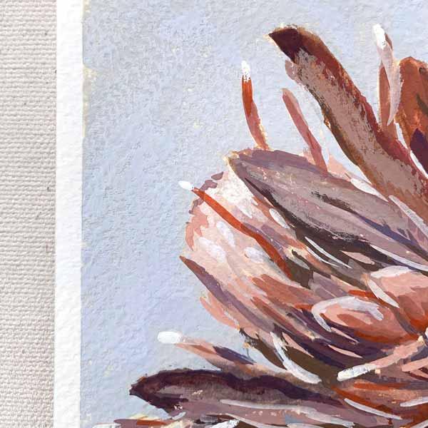 Mini Protea on Blue Painting Detail