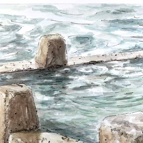 Rockpool reflections at coogee plein air painting detail