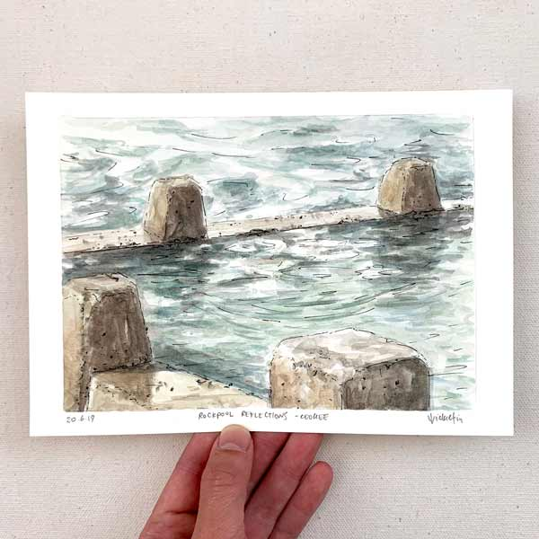 Rockpool reflections at coogee plein air painting