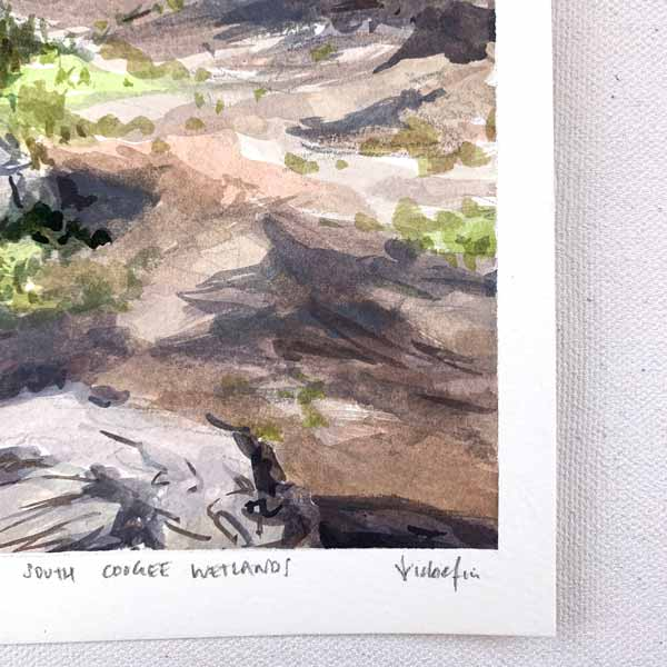 Waves at south coogee wetlands plein air painting signature