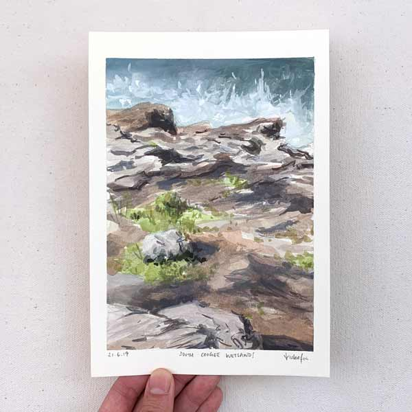 Waves at south coogee wetlands plein air painting